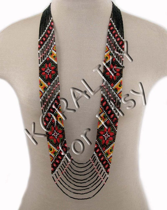 Multicolor. Traditional Ukrainian Folk Handmade Glass Beaded NECKLACE Long Gerdan.