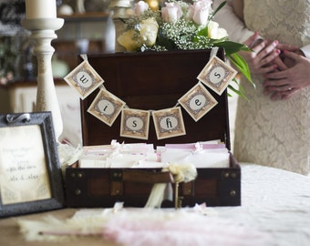 Wedding Guest Book Alternative Including 100 Wish Cards Including Banner and Chest