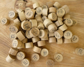 Antique Wood Number Tokens French Victorian Loto Game Pieces 80+ Pieces