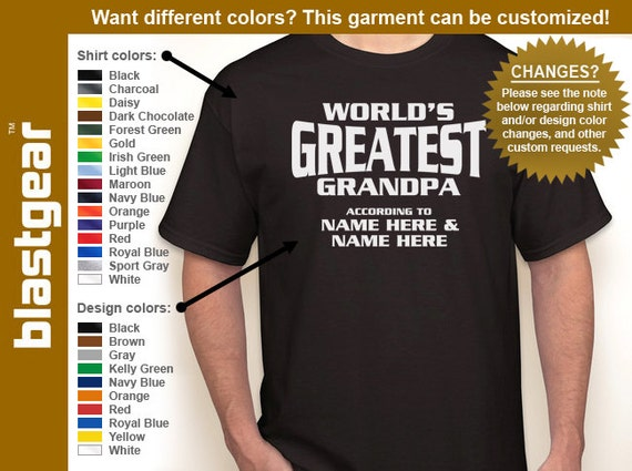Custom World's Greatest Grandpa (or anything) w/ any names T-shirt — Any color/size - Adult S, M, L, XL, 2XL, 3XL, 4XL, 5XL