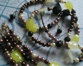 ISOBEL 3 Piece Beaded Necklace, Bracelet and Earrings Jewelry Set in Brown Black Yellow and Smokey Lilac