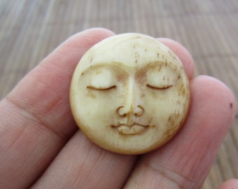 Gorgeous 25 mm Moon Face Cabochon with closed eye Cabochon, bone carving, cabochon for setting S5327