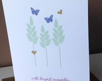 Butterflies and Hearts Sympathy Card