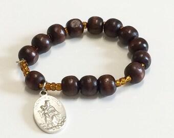 Carmelite wooden Rosary Bracelet with Scapular Medal