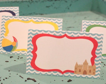 POOL PARTY Beach Party  Theme Birthday or Baby Shower Buffet Cards Table Tents Food Labels {Set of 8} Red Blue