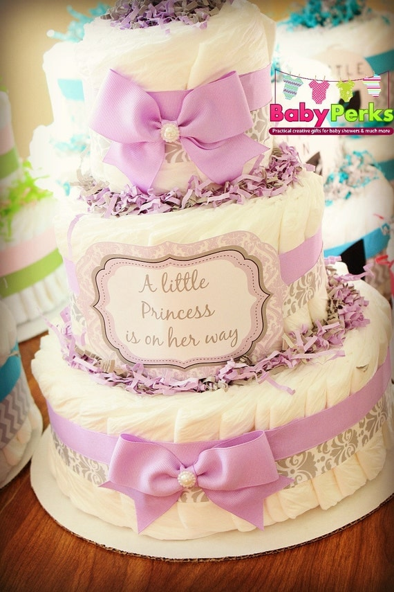 purple damask diaper cake lavender and grey baby shower baby shower