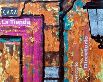 SALE Original mixed media art of old Mexican door with orange pink and blue wall decor in bright colors 19.5 x 25.5