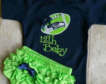Seattle Seahawks Inspired  Baby Bodysuit and Diaper Cover