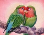 Love Birds Art Print Lovebirds Watercolor Bird Wall Decor by Janet Zeh