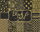 90% OFF SALE Digital Paper Black and Gold Glitter Foil Texture Backgrounds DP128