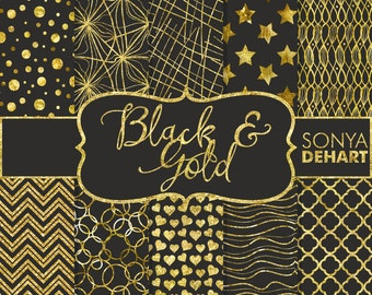 70% OFF SALE Digital Paper Black and Gold Glitter Foil Texture Backgrounds DP128