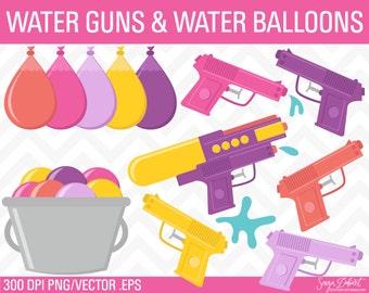 Summer Clipart, Water Gun Clipart, Squirt Gun Clipart, Water Gun Clip Art, Summer Clip Art CA228