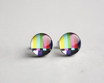 TV test pattern stud earrings, Surgical steel stud, Tiny earring studs, No signal post, geekery, geek jewelry
