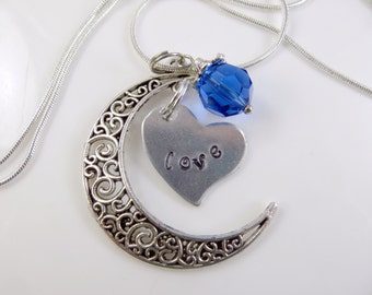 Hand stamped - love - moon necklace