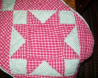 Vintage Star Table Runner Quilted Red White Green Checked Farmhouse Country