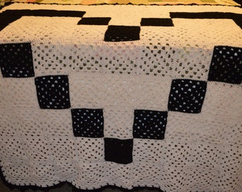 Crocheted Granny Square Heart Afghan
