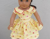 "18"" Doll Clothes -American Girl Doll -Our Generation Doll- Vintage 1950's Style Dress -Yellow Floral Print Dress with Ribbon Rick Rack Trim"