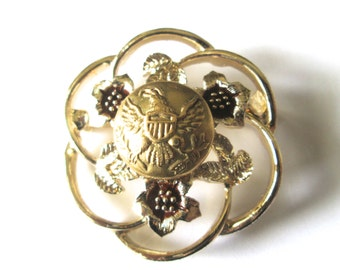ARMY antique BUTTON brooch pin, better than a corsage. 1800s button