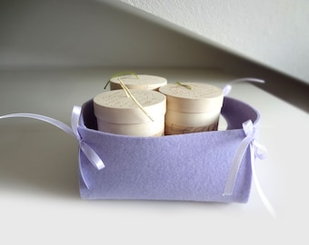 Purple felt basket