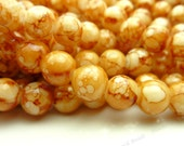 Caramel Brown and White Round Glass Beads - 8mm Smooth Mottled Beads, Shiny Colorful Bohemian Beads - 25pcs - BL11