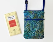 iphone6 plus Sling Bag, Hipster, Crossbody Bag, Small Purse Stained Glass Leaves Batik Fabric
