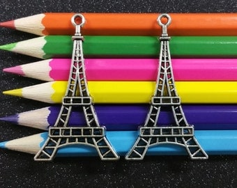 5 PCS - Eiffel Tower Paris Silver Charm Pendant C0028