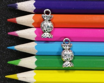 10 PCS - Candy Wrapped Food Treat Silver Charm Pendant C1027
