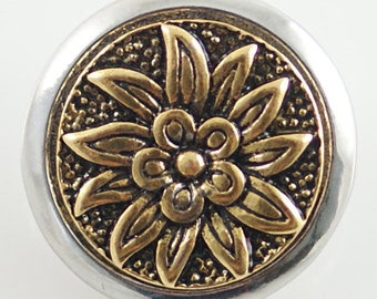 1 PC 18MM Flower Gold Snap Candy Charm KB6248 CC0544