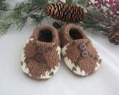 Baby boy's Woodland wool slippers fleece-lined 6-9 mos. OOAK  RTS