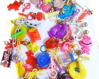 1980s Bell Charm Necklace Over 40 Charms
