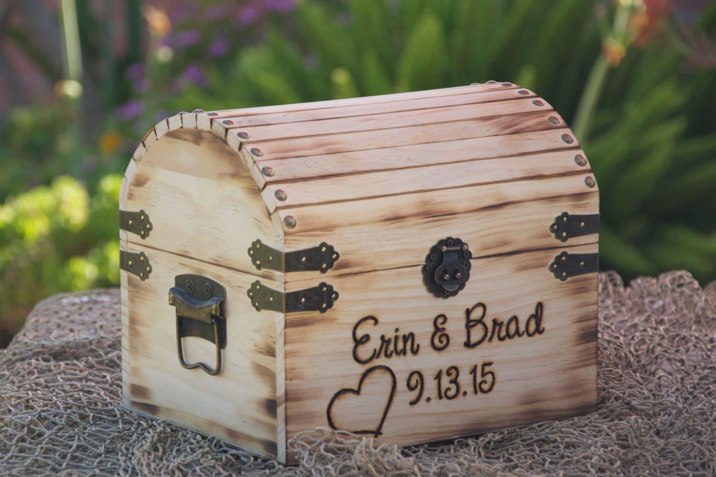 Treasure Chest Wedding Gift Card Box : Medium Rustic Wedding Card Box Treasure Chest
