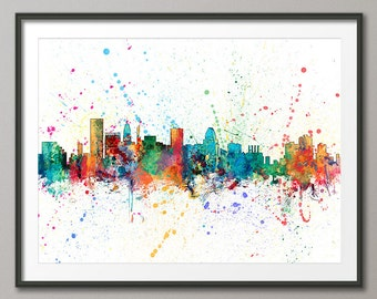 Baltimore Skyline, Baltimore Maryland Cityscape Art Print (1967)