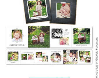 INSTANT DOWNLOAD - Accordion mini template 3x3 - Blooming smiles - E484