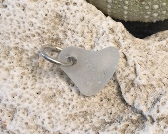 Sea glass jewelry- White sea glass heart charm