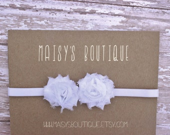 75% OFF White Mini Flowers/ Wedding/ Baptism/Baby Headband/ Newborn Headband/ Flower Girl Headband/ Wedding Hair