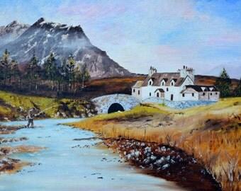 Salmon Fishing in Scotland Vintage Art OOAK Painting Vintage Scottish Painting Vintage Oil Painting Vintage Landscape Painting by AJ Last