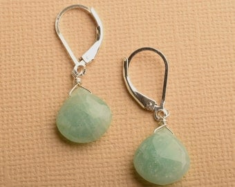 Amazonite Earrings, Green Gemstone Earrings, Summer Earrings, Silver Earrings, Gemstone Drop Earrings