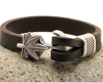 EXPRESS SHIPPING Mens leather bracelet. Mens bracelet. Brown leather cuff bracelet with silver plated toggle clasp and spacer.