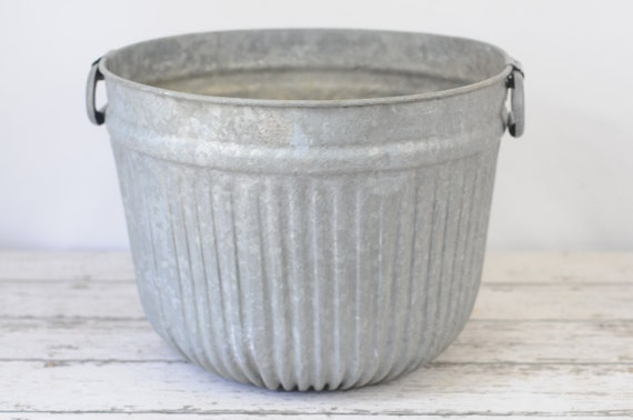 Xl Wash Tub Gray Galvanized Steel Metal Farm By Pagescrappers