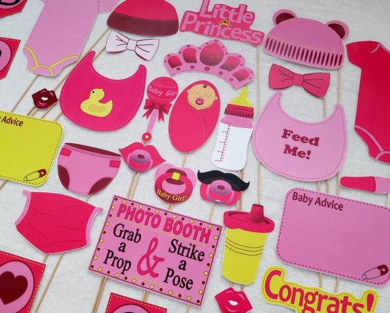 pdf girl baby shower photo booth props printable photobooth diy
