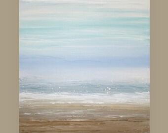 "Art, Abstract, Original Painting, Acrylic Abstract Art, Shabby Chic on Canvas by Ora Birenbaum, Blue Sky 24x30x1.5"""