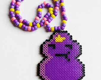 Lumpy Space Princess Adventure Time Perler Kandi Necklace
