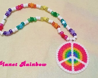 Peace Sign Perler Kandi Necklace