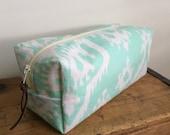Large Box Pouch, Mint Ikat Travel Zipper Pouch, Cosmetic bag, Dopp Kit