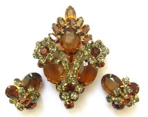 "SALE Vintage Rhinestone Brooch & Earrings Set in Topaz and Light Smoky Citrine Colors.  Dimensional.  Brooch is 2-3/4"" H x 1-15/16"" W."