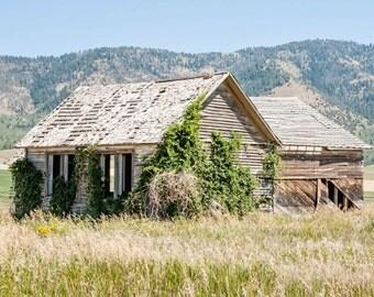 Montana Landscape Photography - Abandoned House Photograph - Landscape - Fine Art Photography Print - Rustic Green Gray Blue Home Decor