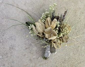Blue and Neutral Natural Dried Pin Corsage - Wild River Corsage - Lavender, Cones, Baby's Breath & Ornamental Grasses