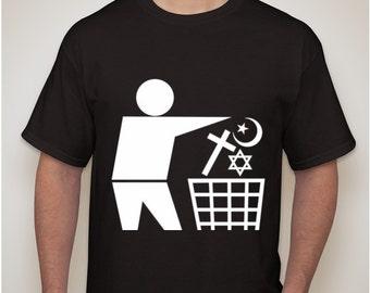 Atheist anti religion trash can T-shirt t shirt
