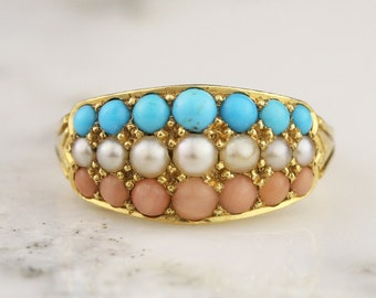 Victorian 18k Gold Turquoise, Seed Pearl, and Coral Three Row Ring