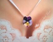 April Love Lavender Purple Pansy Viola Cold Porcelain Clay Flower Necklace Jewelry Pendant